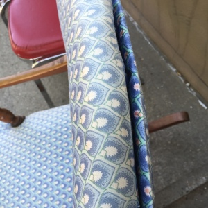 Rocker in Blue, showing separation of stitching