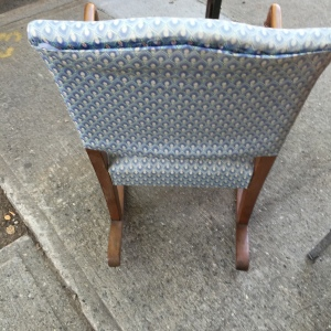 Rocker in Blue, showing the back of the chair