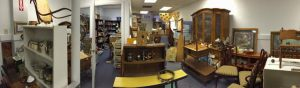Panorama of the Furniture Gallery; that little yellow bench is NOT curved in real life!