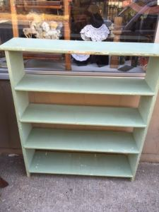 """Bookcase - Green Paint. About 44""""H x 38.25""""W x 10""""D. Our Price: $65.00."""