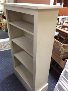 """SOLD. White Bookcase - 48.5""""H x 27""""W x 11""""D. This is an older bookcase. Our price: $60.00."""
