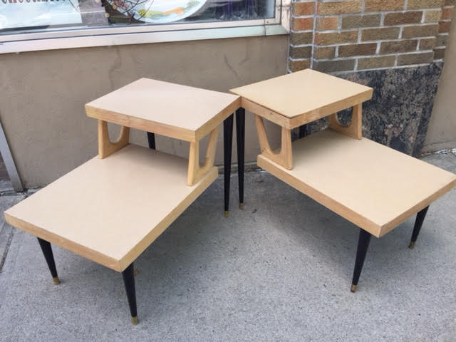 Pair Of Retro 1960s Mid Century Modern Floating Step Side Tables By Mersman