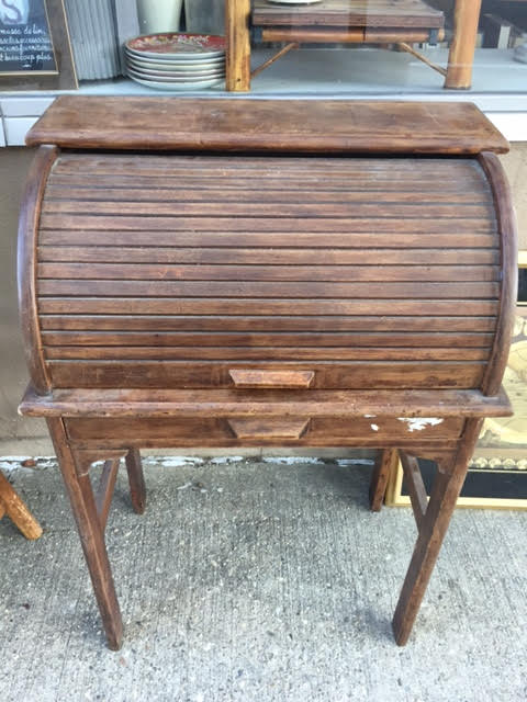 SOLD!  Antique Child's Rolltop Desk