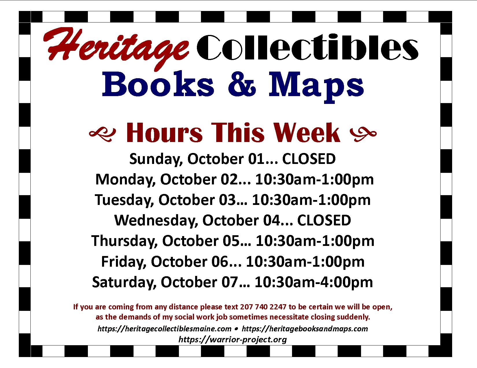 Hours for the Week of 10/01-10/07, 2017 –  We've Expanded to Other Locations!