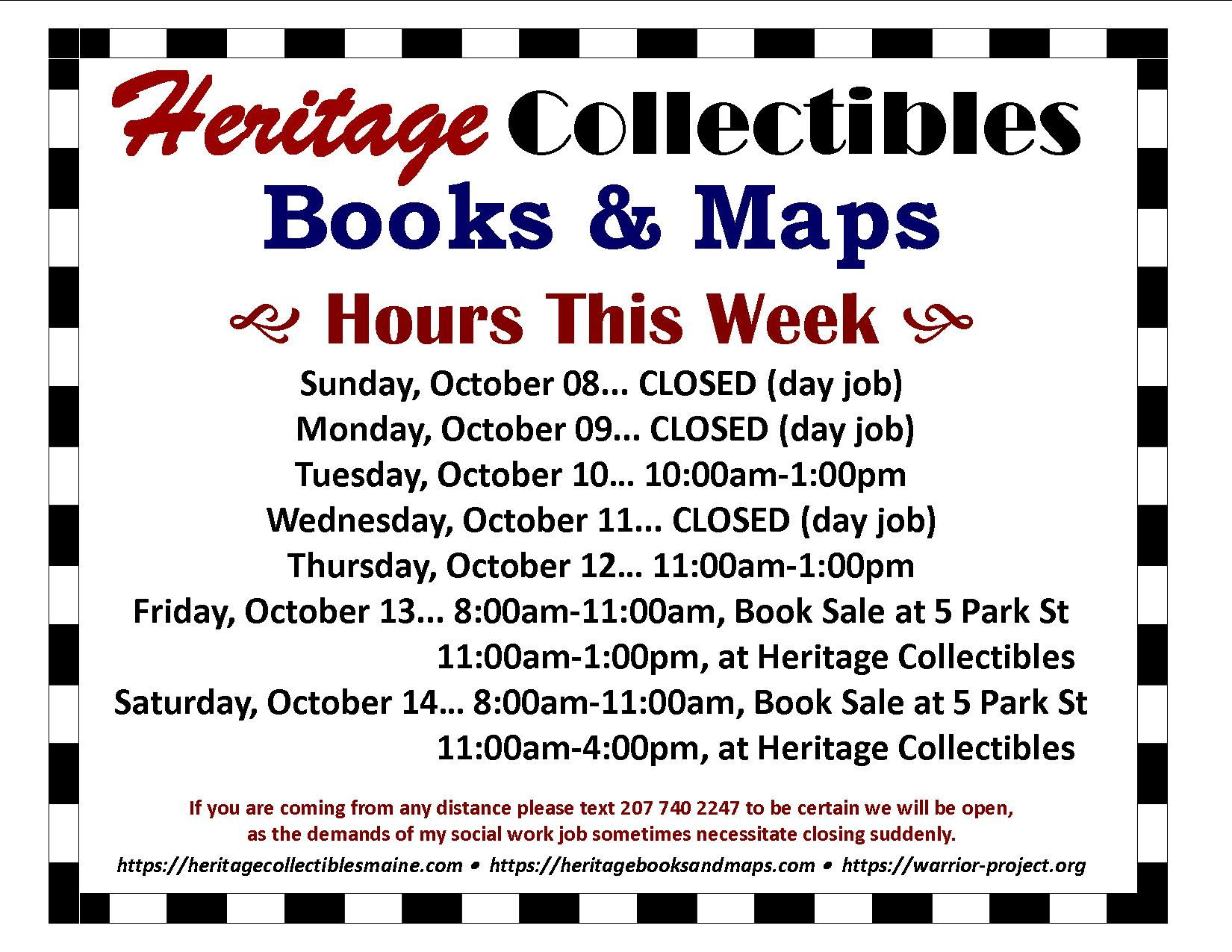 Hours for the Week of 10/08-10/14, 2017 –  Book Sale This Week!