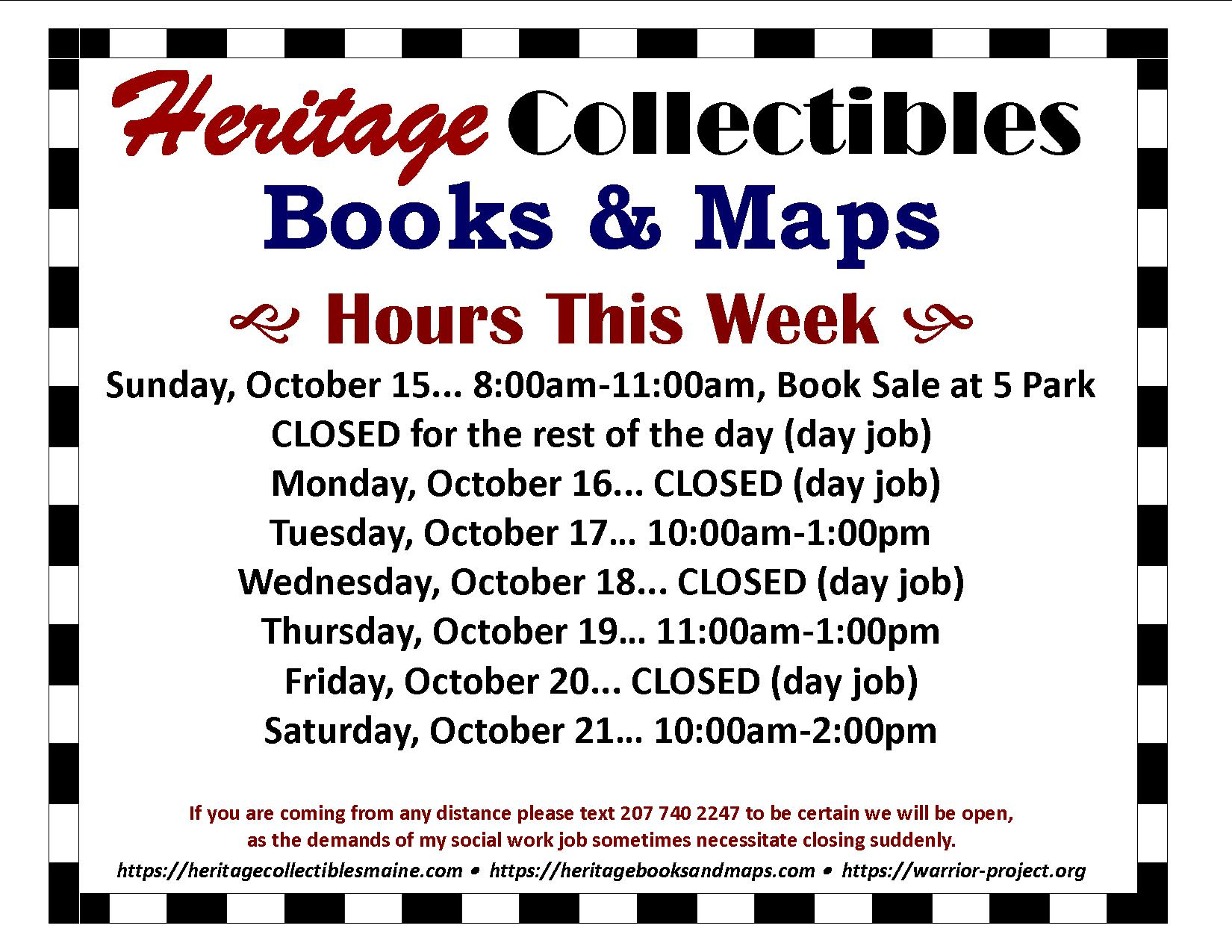 Limited Hours for the Week of 10/15-10/21, 2017 – Pulling a Lot of Hours at My Day Job