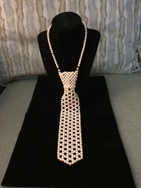 Vintage Faux Pearl Necklace Shaped Like a Necktie