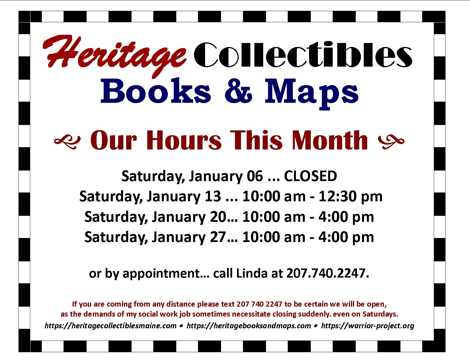 Our Hours for January 2018