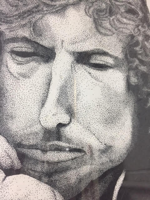 Framed Black & White Drawing of Bob Dylan