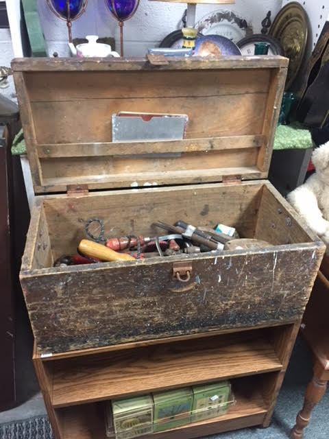 Vintage Wooden Tool Box Plus Miscellaneous Hand Tools