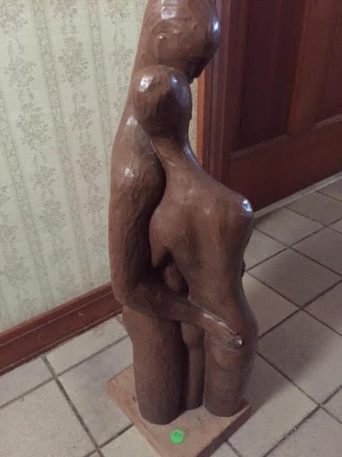 "Wooden ""Lovers"" Sculpture"