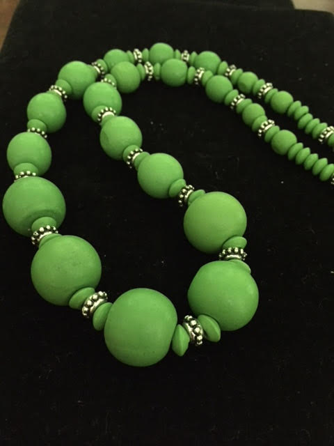 Chunky Wooden Beaded Necklace in Green with Silver Dividers