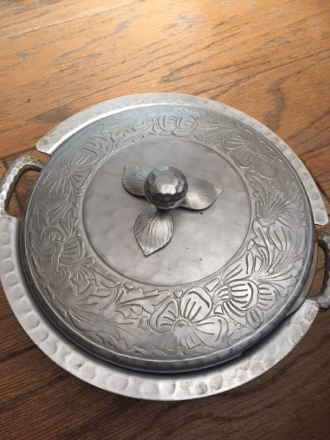 Vintage Pewter Server with Pyrex Insert