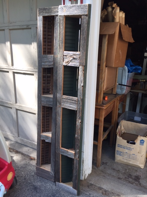 Primitive, Rustic Corner Shelves Made with Old Shutters