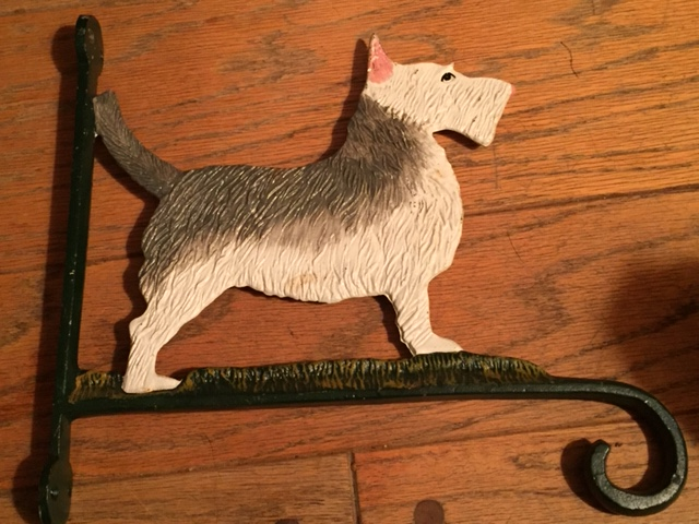 Cast Iron Plant or Sign Hanger with Painted Dog Perched on Top