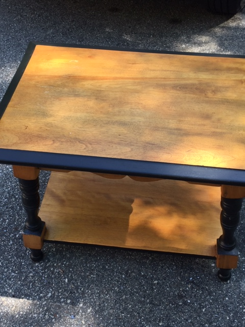 SOLD!  Great Side Table With Warm Colors – Very Nice and Solid, Too!